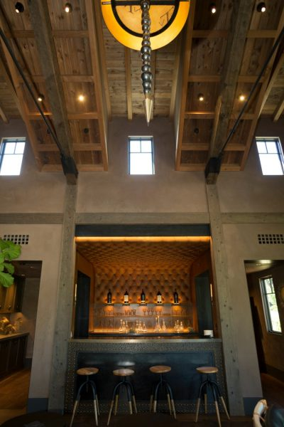 The tufted leather bar in Trinchero Napa Valley tasting room