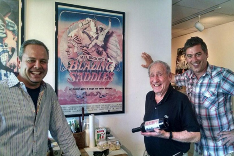 Blazing Saddles' Mel Brooks with the founders of Harumph Wines Scott Stark and Michael DeSantis