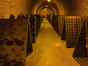 Riddling rack in the caves at Epernay