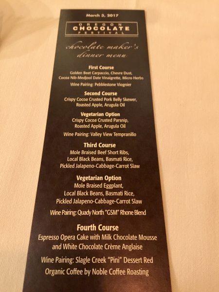 Oregon Chocolate Festival, Chocolate & Wine Pairing Dinner