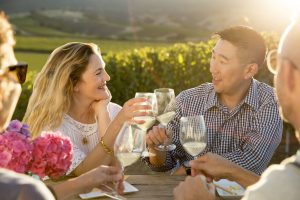 Vintner Drew Barrymore and Winemaker Kris Kato in the vineyards of Carmel Road