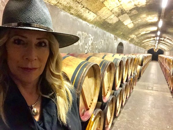 Wine education never ends as The Wine Siren shows in the caves of Mouton Rothschild, Bordeaux France
