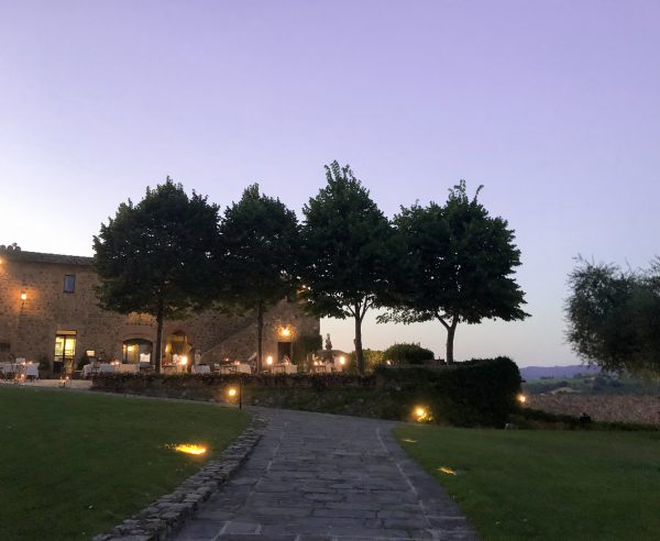 The terrace of the La Sala De Grappoli at Castello Banfi Il Borgo