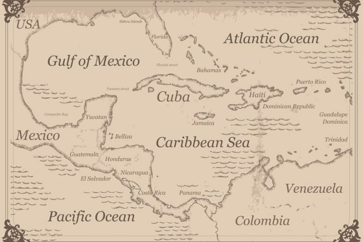 A map of the Caribbean where most of the world's rum comes from