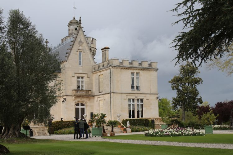 The Chateau from the front. Stunning green grounds and a freedom tree.