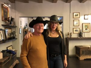 Kelly Mitchell with the owner of Tenuta Baron both in cowboy hats!