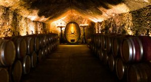 The hand dug caves of Buena Vista with barrels aging