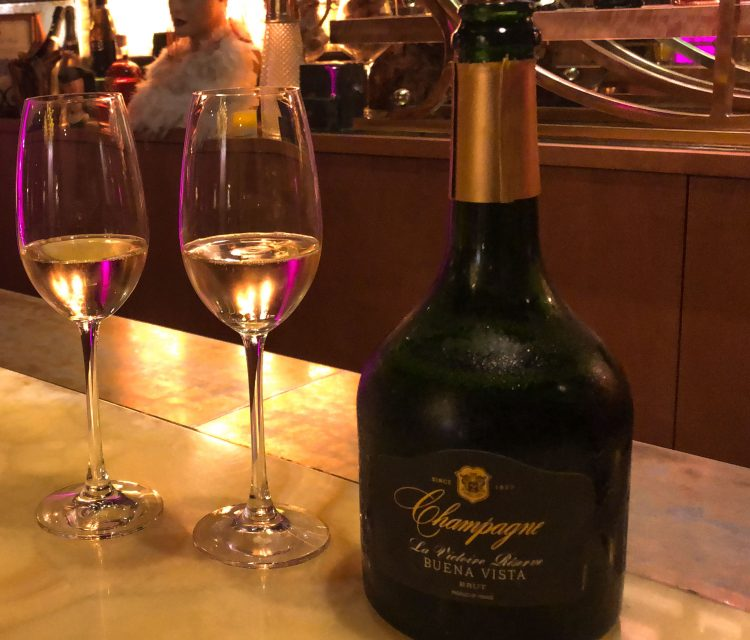A bottle of the French Champagne served at Buena Vista and two glasses