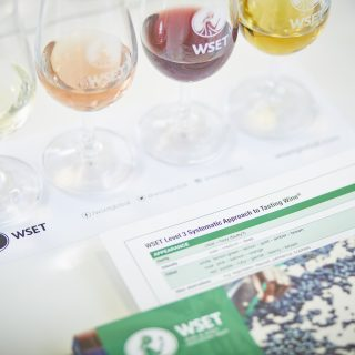 The Green book level three WSET ADvanced with four different colors of wine.