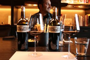 Promontory Winemaker Davide Cilli tasting 2008 & 2012 vintages, Photo by Kelly Mitchell