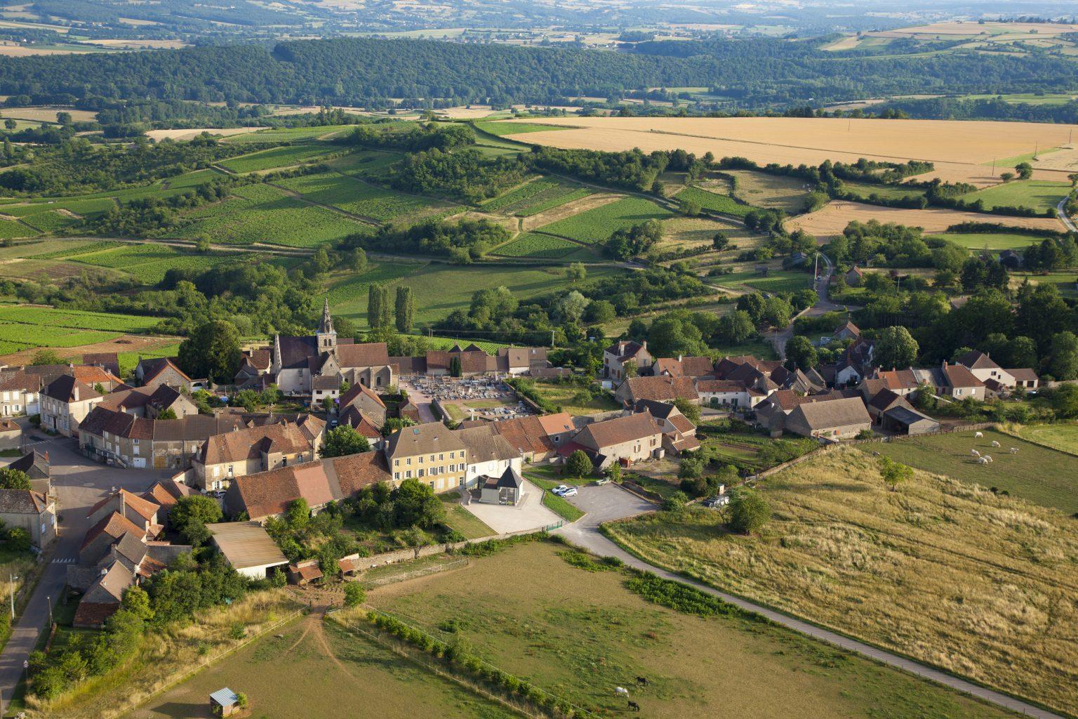 The village and vineyards of Saint-Sernin-du-Plain in Bourgogne, France