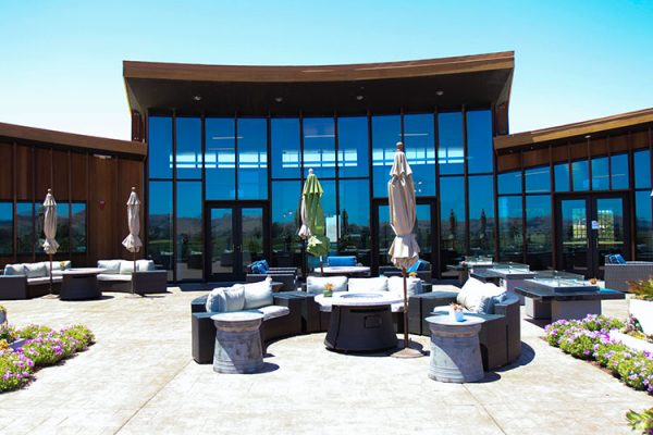 Floor to ceiling windows, huge patio with fire pits ensure your every comfort wine tasting. Bouchaine Vineyards tasting room.